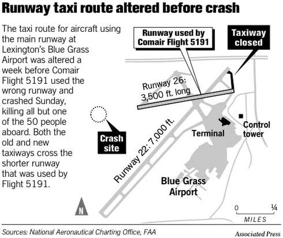 Runway Taxi Route Altered Before Crash. Associated Press Graphic