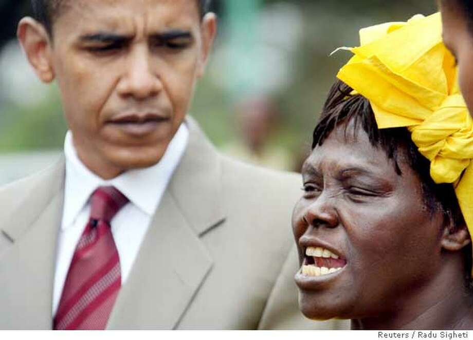 Kenyan Nobel Peace Prize laureate and environmentalist Wangari Mathai (R) speaks after a tree planting ceremony together with U.S. Senator Barack Obama in Nairobi's Uhuru park August 28, 2006. Obama, the son of a Kenyan and a rising star in the Democratic Party is currently visiting four African countries to help spur political and economic development on the continent. REUTERS/Radu Sigheti (KENYA)  Ran on: 08-29-2006  Wangari Mathai, the Kenyan Nobel Peace Prize laureate, speaks as Sen. Barack Obama listens. Photo: RADU SIGHETI