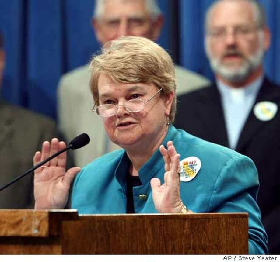 Sen. Sheila Kuehl, D-Santa Monica, talks about efforts to pass her universal health care bill SB 840 during a news conference at the Capitol in Sacramento, Calif., on Monday, Aug. 28, 2006. (AP Photo/Stee Yeater) Photo: STEVE YEATER