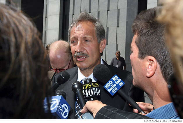 Mark Geragos, Greg Anderson attorney, announces that Anderson, who is Barry Bonds' trainer, was held in contempt of court and jailed for refusing to testify before a grand jury. Event on 8/28/06 in San Francisco. JAKUB MOSUR / The Chronicle Photo: JAKUB MOSUR