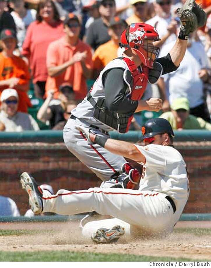 Giants Mark Sweeney slides into home scoring as Reds catcher, David Ross waits for the throw after a RBI hit by Giants Pedro Feliz in the 4th inning, San Francisco Giants vs. Cincinnati Reds at AT&T Park in San Francisco, CA on Saturday, August 26, 2006. 8/26/06  Darryl Bush / The Chronicle ** roster (cq) Photo: Darryl Bush