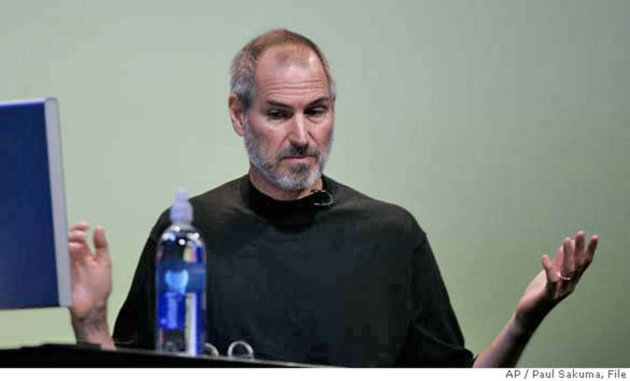 Apple Computer CEO Steve Jobs gestures during his keynote at Apple Worldwide Developer Conference in San Francisco, Monday, Aug. 7, 2006. Apple Computer on Friday reiterated that its mishandling of past employee stock options will cause it to miss a regulatory deadline for filing its latest quarterly results as the iconic maker of iPod music players and Macintosh computers digs into its accounting troubles. (AP Photo/Paul Sakuma) Photo: PAUL SAKUMA