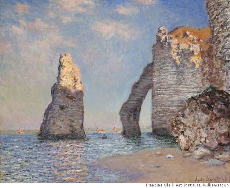 MONETJ  13. Claude Monet (French, 1840-1926)  The Needle Rock and the Porte d�Aval, �tretat, 1885  Oil on canvas, 25-9/16 x 32 inches  Signed and dated loser left: Claude Monet 85  Sterling and Francine Clark Art Institute, Williamstown, Massachusetts Photo: Krause, Johansen