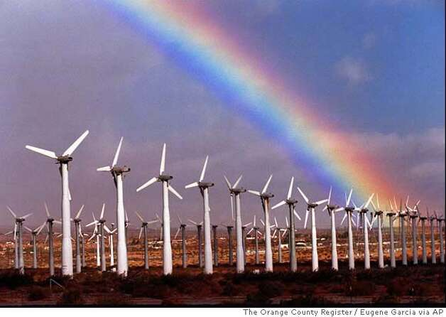 A rainbow forms over power-generating wind turbines on a wind farm near North Palm Springs, Calif., after rain fell in the area Wednesday, Jan. 20, 1999. (AP Photo/The Orange County Register, Eugene Garcia) NO MAGS LA TIMES OUT Photo: EUGENE GARCIA