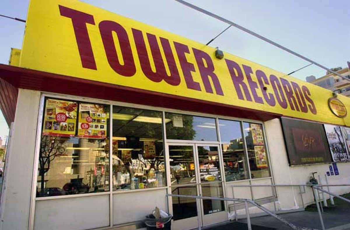 TOWER RECORDS: Opened in 1968, the Tower Records on Columbus and Bay had a sign outside: