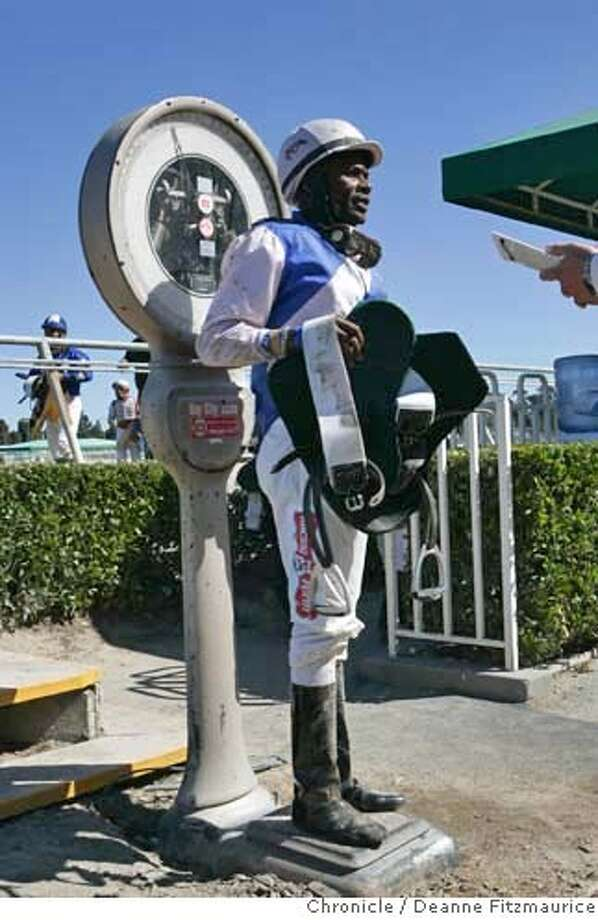 baymeadows_190_df.JPG  Jockey, Barrington Harvey gets weighed after the 4th race. Bay Meadows Race Track in San Mateo , the longest continually running racetrack in California may soon close.  Deanne Fitzmaurice / San Francisco Chronicle Photo: Deanne Fitzmaurice