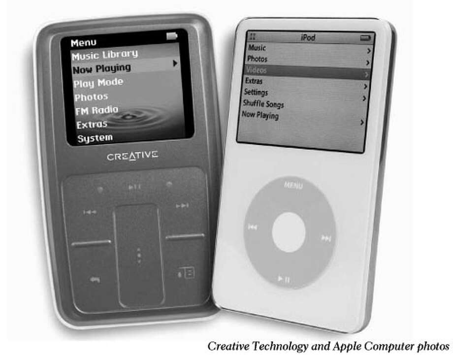 Creative Technology's MP3 player (left) and Apple's iPod had been in several patent disputes between the companies. Creative Technology and Apple Computer photos