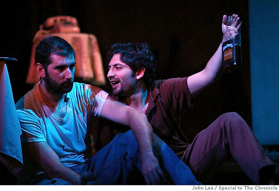 """AUG 19 - Rick Scarpello (cq), left, as """"Lee"""", and Ronen Sberlo (cq) as """"Austin"""", during a performance of Sam Shepard's play True West, Saturday evening at the Artaud Gallery Theater in San Francisco's Mission District.  By JOHN LEE/SPECIAL TO THE CHRONICLE Photo: JOHN LEE"""
