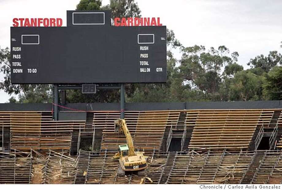 STADIUM_003_CAG.JPG  Monday is the first day of demolishing Stanford Stadium, built 84 years ago. Just looking for some good demolition shots. Anything nostalgic would be an added bonus. They're going to be rebuilding it quickly, hoping it's done for the 2006 football season.  Photo by Carlos Avila Gonzalez / The San Francisco Chronicle  Photo taken on 11/28/05 in Palo Alto, CA. Ran on: 11-29-2005  Photo caption Ran on: 11-29-2005 Ran on: 12-03-2005 Ran on: 12-03-2005 MANDATORY CREDIT FOR PHOTOG AND SAN FRANCISCO CHRONICLE/ -MAGS OUT Photo: Carlos Avila Gonzalez