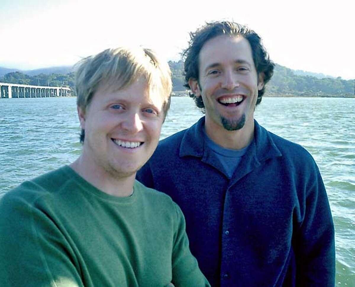 GROUPER05.JPG David Samuel, left, president of Grouper Networks Inc. and CEO Josh Felser. / HANDOUT Ran on: 10-05-2004 Grouper Networks David Samuel (left) and Josh Felser.