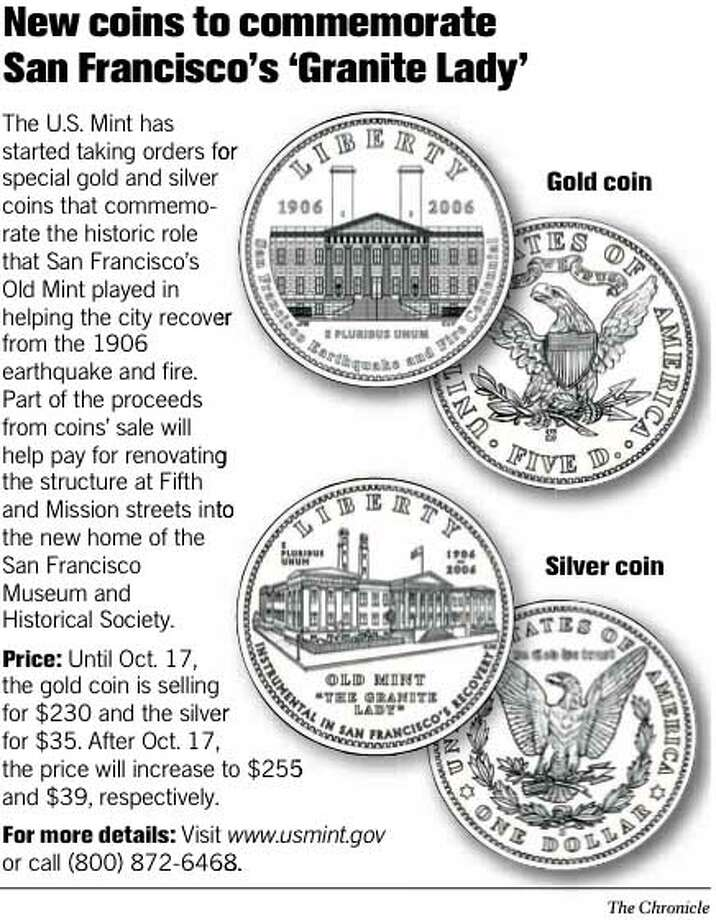 New coins to commemorate San Francisco�s �Granite Lady.� Chronicle Graphic
