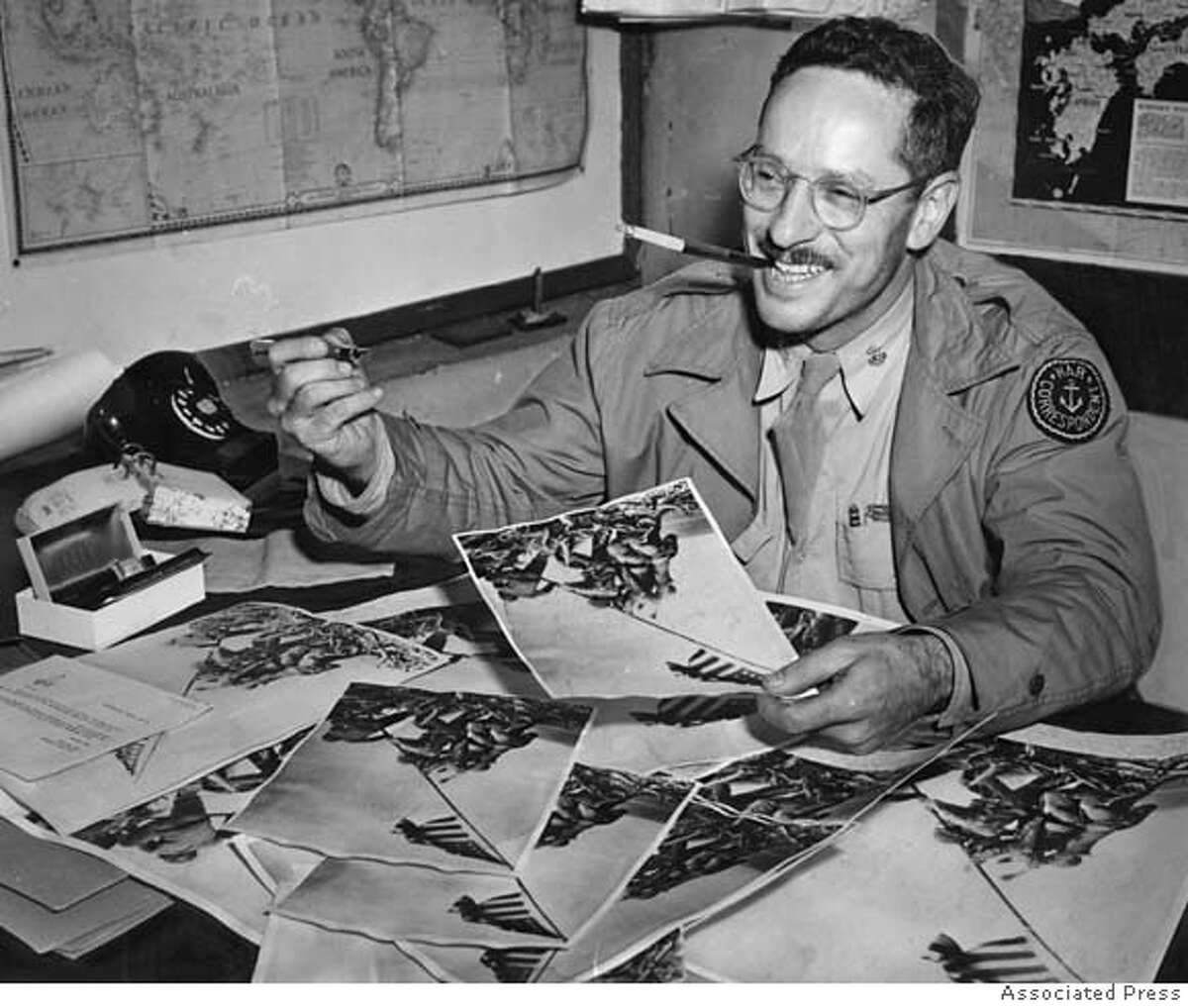 Chronicle phtographer Joe Rosenthal, who won a Pulitzer for his famous Iwo Jima flag raising photo in 1945. Photo credit: Associated Press