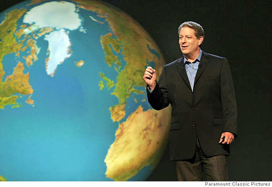 """Al Gore, shown lecturing in his documentary on global warming, """"An Inconvenient Truth,"""" doesn't practice what he preaches. Photo courtesy of Paramount Classic Pictures"""