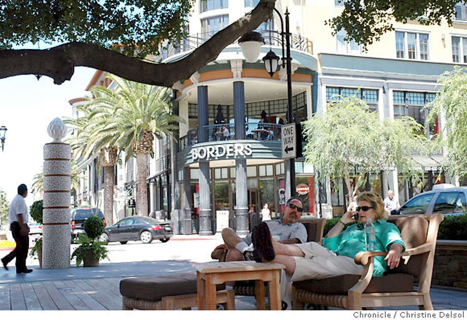 TRAVEL SAN JOSE -- Lounging in front of the Concierge office in Santana Row Park. Christine Delsol/The Chronicle Photo: Christine Delsol