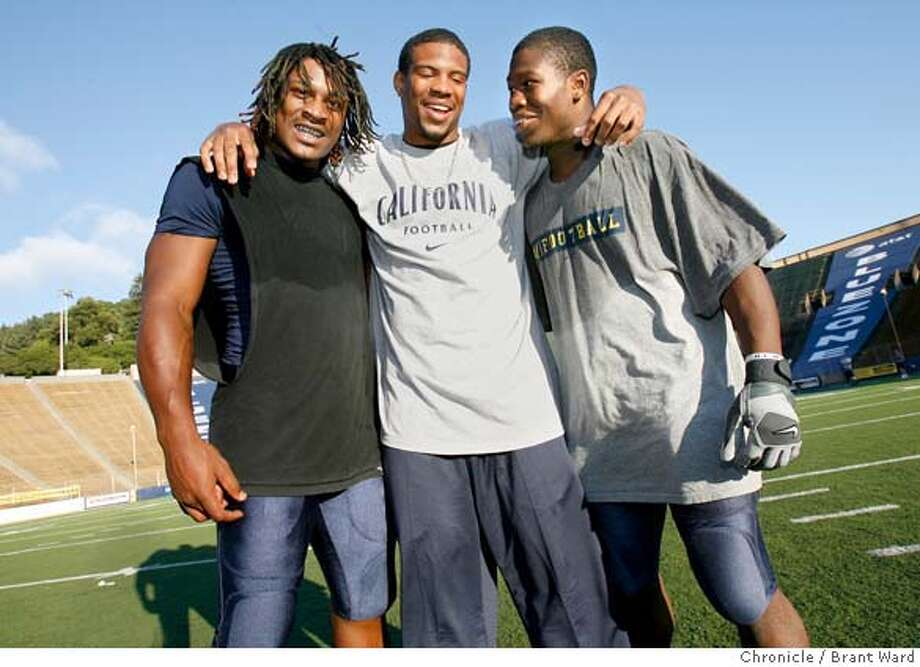 cal124.jpg  California running backs l-r Marshawn Lynch, Marcus O'Keith and Justin Forsett enjoyed a moment after a recent practice at Memorial stadium.  California opens their season against Tennessee this year. Among the standouts are running backs Marshawn Lynch, Justin Forsett and Marcus O'Keith. Linebacker Justin Moye and offensive lineman Mike Tepper will also be important players.  {Brant Ward/The Chronicle} 8/14/06 MANDATORY CREDIT FOR PHOTOGRAPHER AND SAN FRANCISCO CHRONICLE/ -MAGS OUT Photo: Brant Ward