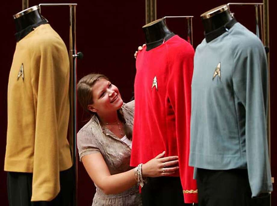 """Christie's New York will auction off """"Star Trek"""" costumes (seen in London) and other memorabilia at Rockefeller Center Oct. 5-7. Reuters photo by Luke Macgregor"""