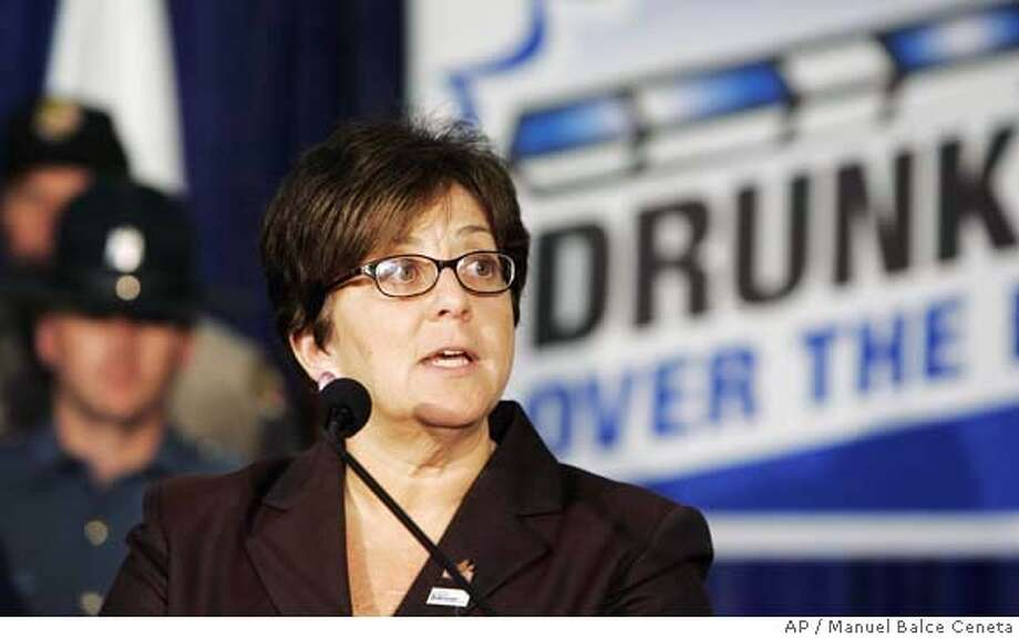 Acting Transportation Secretary Maria Cino speaks during a news conference in Rockville, Md., Wednesday, Aug. 16, 2006 during the launch of an anti-drunk driving advertising campaign. (AP Photo/Manuel Balce Ceneta) Photo: MANUEL BALCE CENETA