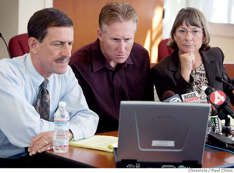 Administrators from Napa Valley Unified School District (from left), superintendent John Glaser, Pueblo Vista Elementary School principal Daniel Roberts and assistant superintendent Sharyn Lindsey watch videotape footage of the arrest of John Mark Karr from Thailand at a news conference in Napa, Calif. on Thursday, August 17, 2006. Karr, suspected in the slaying of JonBenet Ramsey in December of 1996, reportedly worked as a student teacher at Pueblo Vista for four months in 2001.  PAUL CHINN/The Chronicle  **John Glaser, Daniel Roberts, Sharyn Lindsey Photo: PAUL CHINN