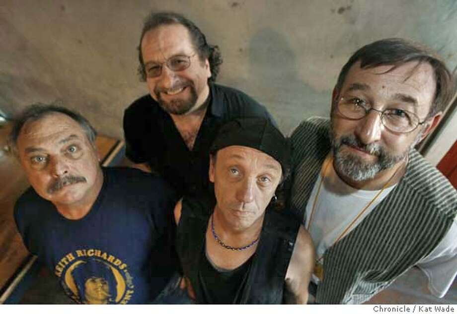 """.jpg  """"Crystal Garden,"""" band members(L to R)David Rose, Walt Dutchover, Leonard L. Silva and Dave Dietle pose for a portrait when local garage rock-n-roll bands from the 60's reunite for a book publishing party at The Saddle Rack in Fremont Sunday August 13, 2006. Kat Wade/The Chronicle ** David Rose, Walt Dutchover, Leonard L. Silva and Dave Dietle(Subject) cq Mandatory Credit for San Francisco Chronicle and photographer, Kat Wade, Mags out Photo: Kat Wade"""