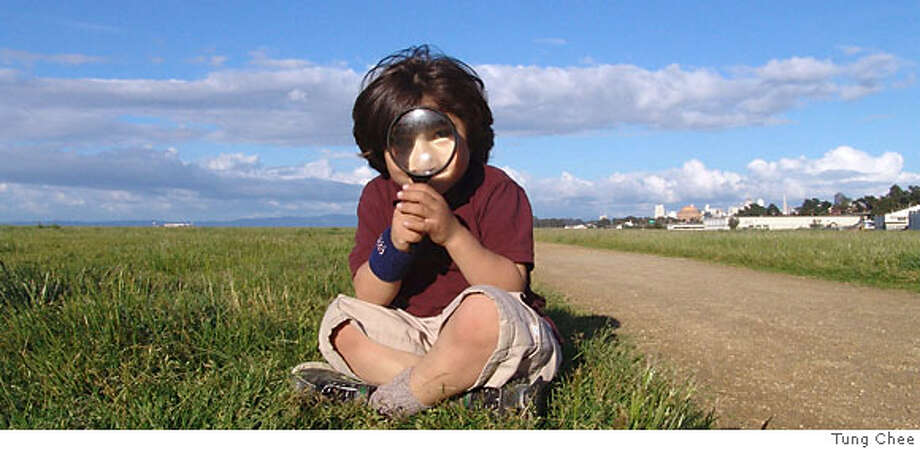 Alejandro Colindres looks for clues in the Crissy Field Mystery Trail Challenge, a free outdoor adventure for families.  CREDIT: Tung Chee. Photo: Tung Chee