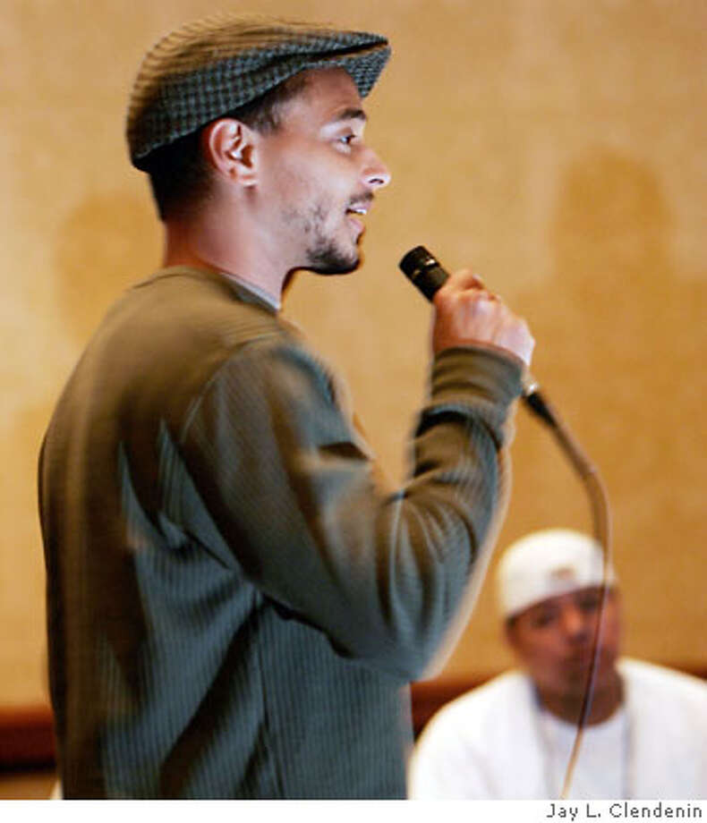 "Michael Molina, head of the ROOTS program at Balboa H.S., addresses the audience before the students present their program. Students part of the ROOTS program at San Francisco's Balboa High School visited Washington D.C. and made their presentation of ""Sentences,"" a set of individual and group performances depicting their lives' events, at the Child Welfare League of America Children of Prisoners Conference. Photo: Jay L. Clendenin"