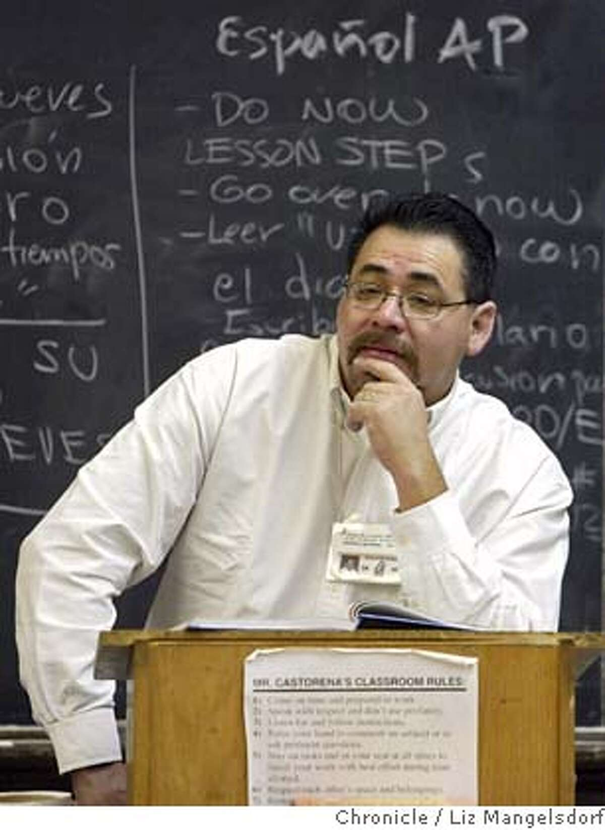 balboa27_330_lm.JPG Event on 1/26/05 in San Francisco. Teacher Lalo Castorena listens to students in his AP Spanish 2 class. Story on Balboa High School, and their work to get more students into Advanced Placement courses. They start in 9th and 10th grade with honor courses to prepare students for AP. Note that this is a file foto, but that photo dept. has checked and this guy is still teaching at Balboa and still teaching the same course as of 8/15/06. Liz Mangelsdorf / The Chronicle MANDATORY CREDIT FOR PHOTOG AND SF CHRONICLE/ -MAGS OUT