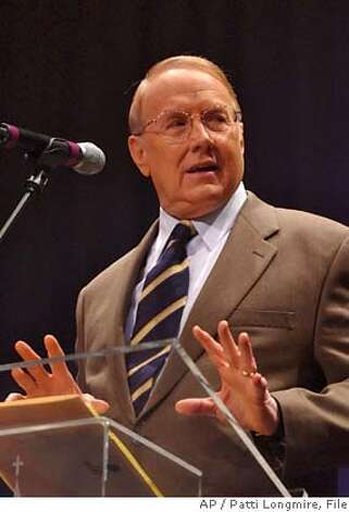 **FILE** Dr. James Dobson, Founder of the Focus on the Family, talks in a Sunday, April 24, 2005 photo, in Louisville, Ky. Dobson's vast radio audience and White House ties have made him a key player in the fiery debate over Harriet Miers' nomination to the Supreme Court. (AP Photo/Patti Longmire, File) Ran on: 10-23-2005  Dr. James Dobson, left, says he has the inside scoop and supports Harriet Miers' nomination, while Gary Bauer is filled with doubt. AN APRIL 24, 2005 FILE PHOTO Photo: PATTI LONGMIRE
