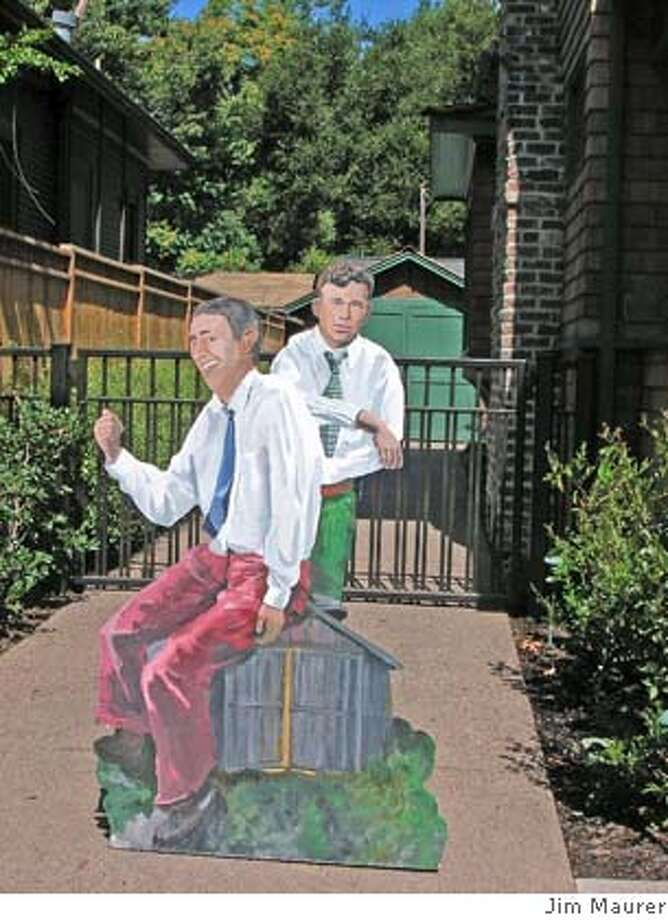 Life-sized, two dimensional standup posters of David Packard and William Hewlett have been hitchhiking as part of an art project. Photo credit: Jim Maurer Photo: Jim Maurer