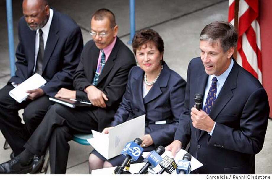 CST16  Jack O'Connell, State Superintendent in town to talk about test results of students in the state. To his left is Gwen Chan, Norman Yee and Hoover Liddell at George Moscone School  Event on 8/15/06 in San Francisco.  Penni Gladstone / The Chronicle  ***cq Reporter Photo: Penni Gladstone