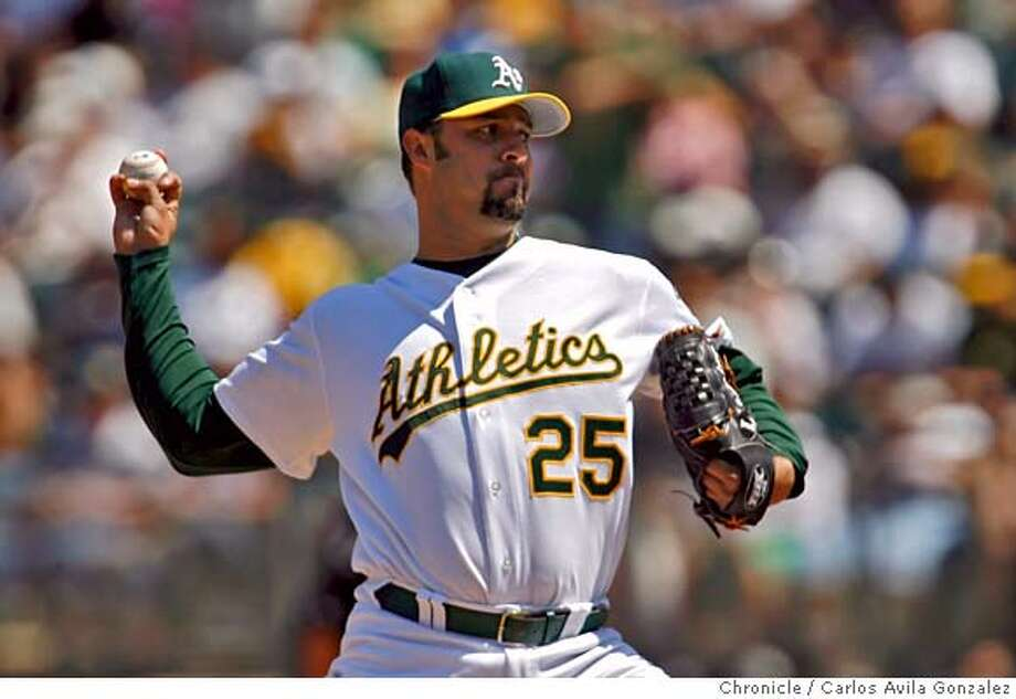 ATHLETICS14_002_CAG.JPG  Esteban Loaiza allowed only three hits in eight innings against the Devil Rays. The Oakland Athletics played the Tampa Bay Devil Rays at McAfee Coliseum in Oakland, Ca. The Athletics won the game, 3-1, sweeping the series. Photo by Carlos Avila Gonzalez/The San Francisco Chronicle  Photo taken on 8/13/06, in Oakland, Ca, USA  **All names cq (roster) Photo: Carlos Avila Gonzalez