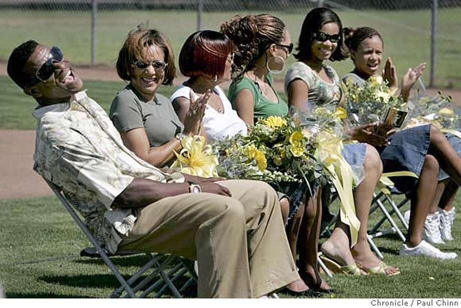 Rickey Henderson was basking in the limelight and was joined by his family, from left, wife Pamela, mother Bobbie, and his daughters Angela, Adrianna and Alexis at a dedication ceremony for Rickey Henderson Field at the Arroyo Viejo Recreation Center in Oakland, Calif. on Friday, August 11, 2006. The former Oakland A's star and future Hall of Famer is an Oakland native.  PAUL CHINN/The Chronicle  **Rickey Henderson, Pamela, Bobbie, Angela, Adrianna, Alexis MANDATORY CREDIT FOR PHOTOGRAPHER AND S.F. CHRONICLE/ - MAGS OUT Photo: PAUL CHINN