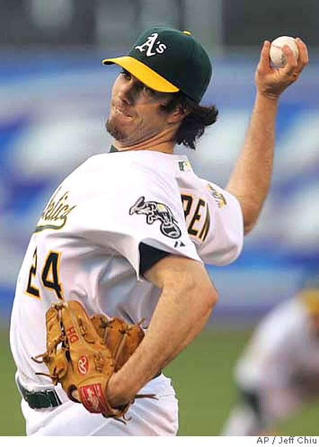 Oakland Athletics' Dan Haren pitches to the Tampa Bay Devil Rays in the first inning of their baseball game in Oakland, Calif., Friday, Aug. 11, 2006. (AP Photo/Jeff Chiu) Photo: JEFF CHIU