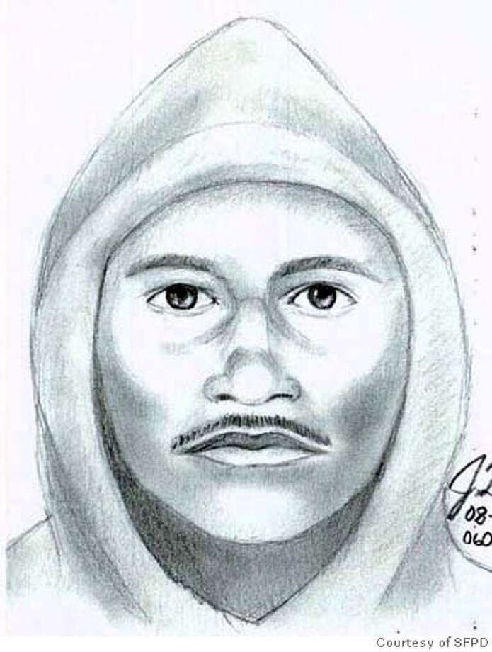 San Francisco Police have released a composite drawing of the suspect in a sexual assault that occurred last Sunday, August 6, in Golden Gate Park near the intersection of 22nd Avenue and Fulton Street at about 3:00 P.M.� In this incident, the victim was walking down a park path when the suspect tackled her from behind, covered her mouth with his hands, and sexually assaulted her before fleeing. The suspect is described as a Hispanic male, mid-20s, 5� 6�, with a slight moustache.� The composite drawing is posted below.  Anyone who has information regarding the suspect is urged to contact Inspector Joe Cordes, SFPD Sexual Assault Section, 553-1525. SFPD HANDOUT AUGUST 10, 2006. Photo: HO