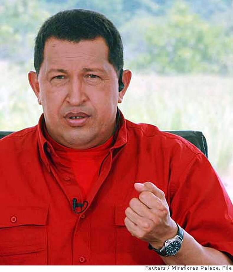 Venezuela's President Hugo Chavez speaks during his weekly broadcast 'Alo Presidente' at the Socialist Production Unit Manuel Piar, in the state of Bolivar August 6, 2006. Chavez on Sunday said the nation this week will begin drilling oil wells in the Orinoco heavy crude belt as part of a project to certify the area's reserves. NO ARCHIVES REUTERS/Miraflores Palace/Handout (VENEZUELA)  Ran on: 08-10-2006  Gov. Manuel Rosales, speaking after the group decision, was aided by his fiery anti-Chavez oratory, his visibility and financial resources. Photo: HO