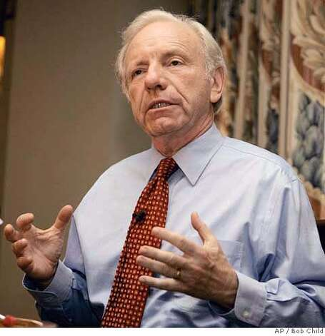 U.S. Sen. Joseph Lieberman, D-CT, talks to reporters in his Hartford, Conn., suite Wednesday afternoon Aug. 9, 2006. Lieberman was defeated by Ned Lamont for the party's nomination Tuesday night. (AP Photo/Bob Child) Photo: BOB CHILD