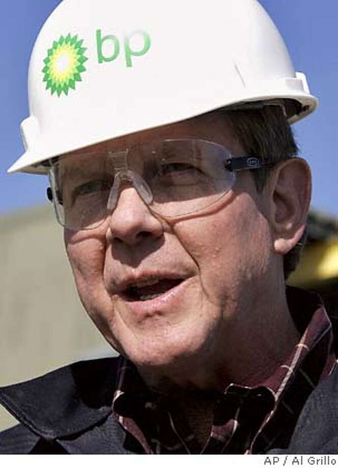 British Petroleum-America Chairman and President Bob Malone speaks while visiting the Prudhoe Bay, Alaska, oil field on Alaska's North Slope Friday, Aug. 4, 2006. BP Exploration Alaska, Inc. began shutting down the Prudhoe Bay oil field Sunday after the discovery of unexpectedly severe corrosion and a small spill from a Prudhoe Bay oil transit line. (AP Photo/Al Grillo) Photo: AL GRILLO