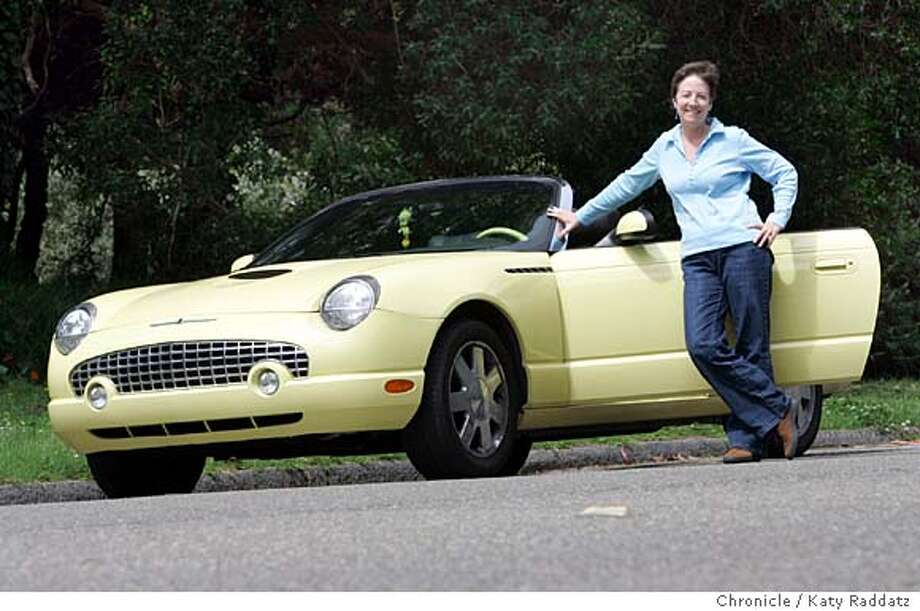 "MOTORXXmyrideBOCCIARDI_022_RAD.jpg  Paula Bocciardi and her yellow 2002 Ford Thunderbird. She named the car ""Tweety"" because it's a yellow bird. Tweety Bird, the cartoon character, hangs from the rearview mirror. For her license plate, TWEDEE was the closest she could get to Tweety. Photo taken on 7/3/06, in San Francisco, CA.  (Katy Raddatz/The S.F.Chronicle  **Paula Bocciardi, Thunderbird Mandatory credit for photographer and the San Francisco Chronicle/ -Mags out Photo: Katy Raddatz"