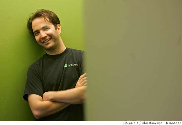 Bram Cohen,(cq) is the founder of BitTorrent, photographed in his downtown SF offices. Cohen created BitTorrent to help software developers transfer large files, but it became a popular means of sharing illegal copies of popular movies. Now BitTorrent has become legit: it has established an office in San Francisco and this month will began offering movie downloads in a deal with Warner Brothers.(CHRISTINA KOCI HERNANDEZ/THE CHRONICLE)  Bram Cohen (cq)) Mandatory Credit For Photographer and San Francisco Chronicle/No-Sales-Mags Out Photo: Christina Koci Hernandez