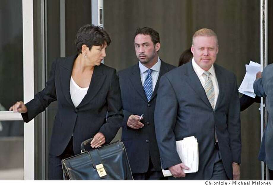 Patrick Arnold (center) leaves the Federal Building after his sentencing. With him are his lawyers Nanci (cq) Clarence and at right, Rick Collins.  Chemist Patrick Arnold, a chemist found guilty in the BALCO case for distributing steroids appeared before a federal judge this morning for sentencing at the Federal Building in San Francisco. He was sentenced to 3 months in prison and 3 months house arrest.  Photo by Michael Maloney / San Francisco Chronicle on 8/4/06 in SAN FRANCISCO,CA MANDATORY CREDIT FOR PHOTOG AND SF CHRONICLE/ -MAGS OUT Photo: Michael Maloney