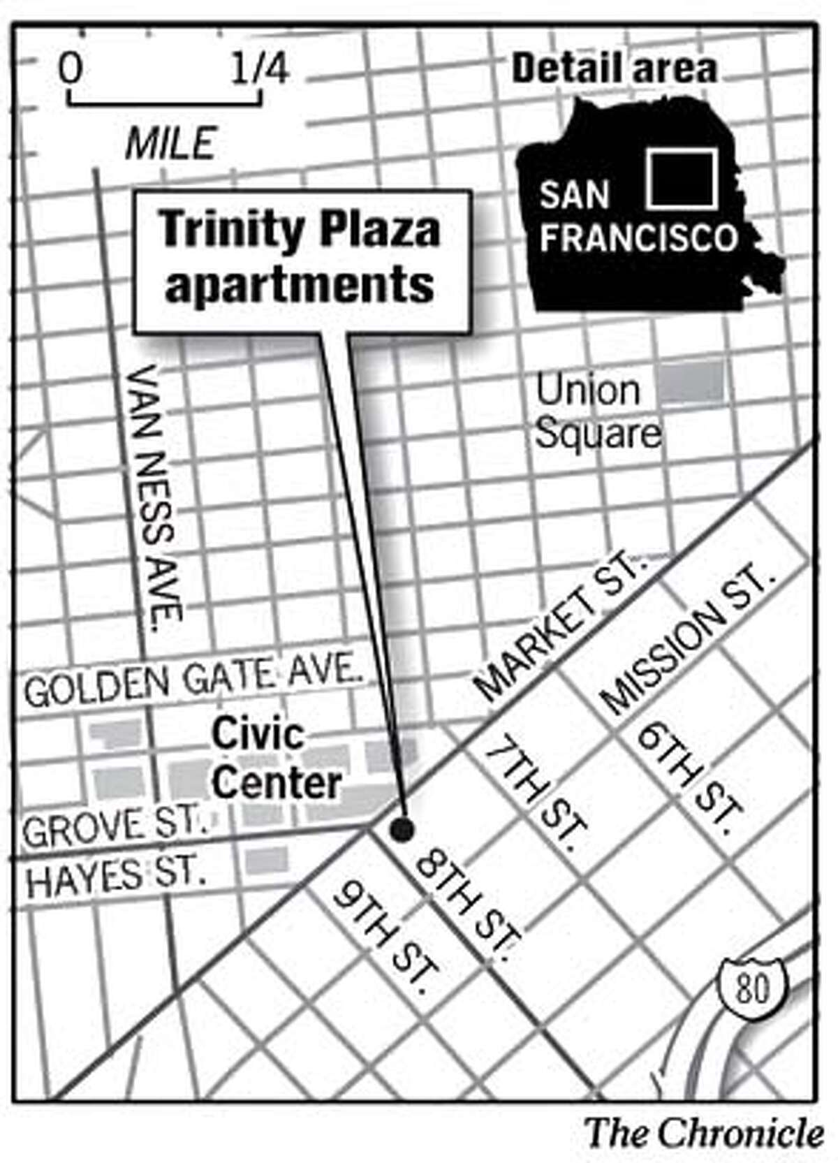Trinity Plaza Apartments. Chronicle Graphic