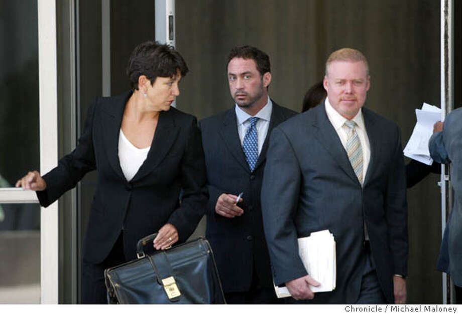 Patrick Arnold (center) leaves the Federal Building after his sentencing. With him are his lawyers Nanci (cq) Clarence and at right, Rick Collins.  Chemist Patrick Arnold, a chemist found guilty in the BALCO case for distributing steroids appeared before a federal judge this morning for sentencing at the Federal Building in San Francisco. He was sentenced to 3 months in prison and 3 months house arrest.  Photo by Michael Maloney / San Francisco Chronicle on 8/4/06 in SAN FRANCISCO,CA Photo: Michael Maloney