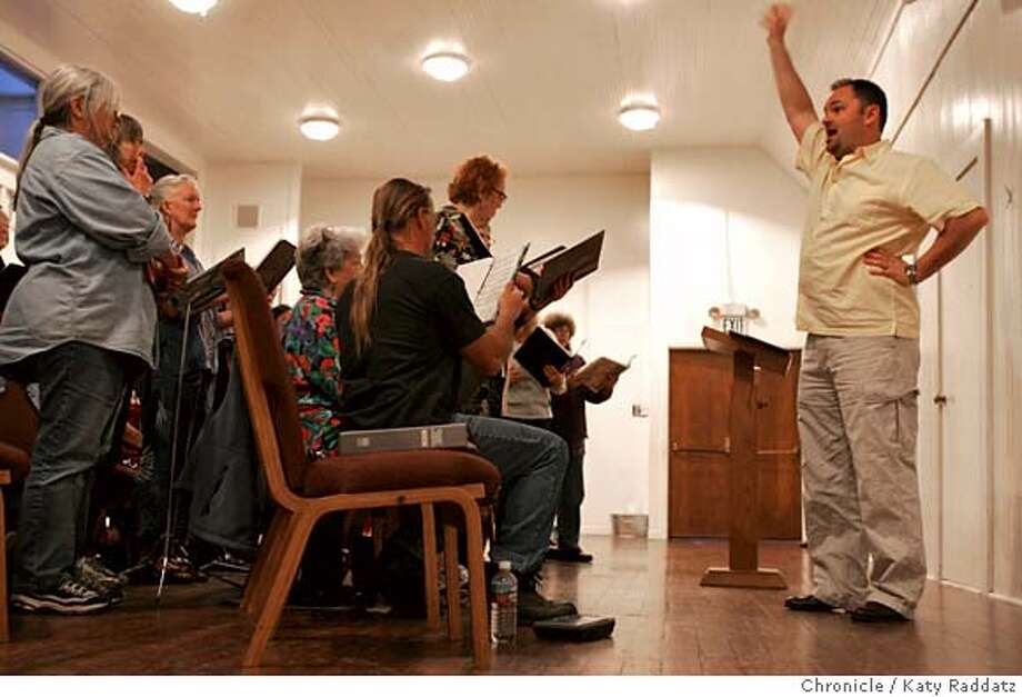 "HAWAIIAN047_RAD.JPG Na Leo Nahenahe is the only known Hawaiian choral group in the San Francisco. ""Sharing Aloha Through Song."" They sing a capella. We photograph a rehearsal at the Bethany United Methodist Church in Noe Valley, San Francisco. SHOWN: choir director John Lehrack puts a lot of body language into his conducting. Annie Nakao writes for Datebook. Photo taken on 4/11/05, in San Francisco, CA.  By Katy Raddatz / The San Francisco Chronicle MANDATORY CREDIT FOR PHOTOG AND SF CHRONICLE/ -MAGS OUT Photo: Katy Raddatz"