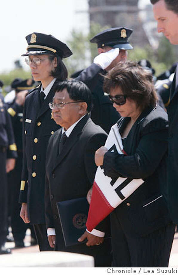 From left: From left: SF Police Chief Heather Fong; parents of Off. Birco, Gavin Newsom walk from the church at the end of the funeral.  Funeral of Officer Nick-Tomasito Birco, a SFPD officer who was killled in the line of duty on July 26, 2006. Funeral was on Wednesday August 2, 2006.  Photo by Lea Suzuki/The San Francisco Chronicle  Photo taken on 8/2/06, in San Francisco, CA. **Tomasito and Zeny Birco (Gavin Newsom and program) cq. Photo: Lea Suzuki