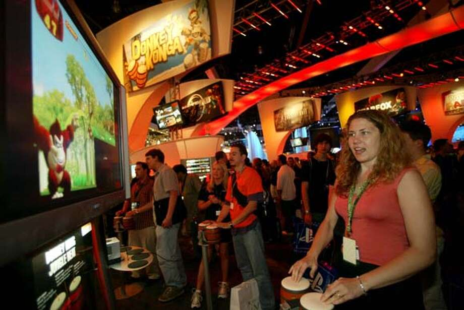 E3 gamers play a supersize version of Donkey Konga. Associated Press photo, 2004, by Ric Francis