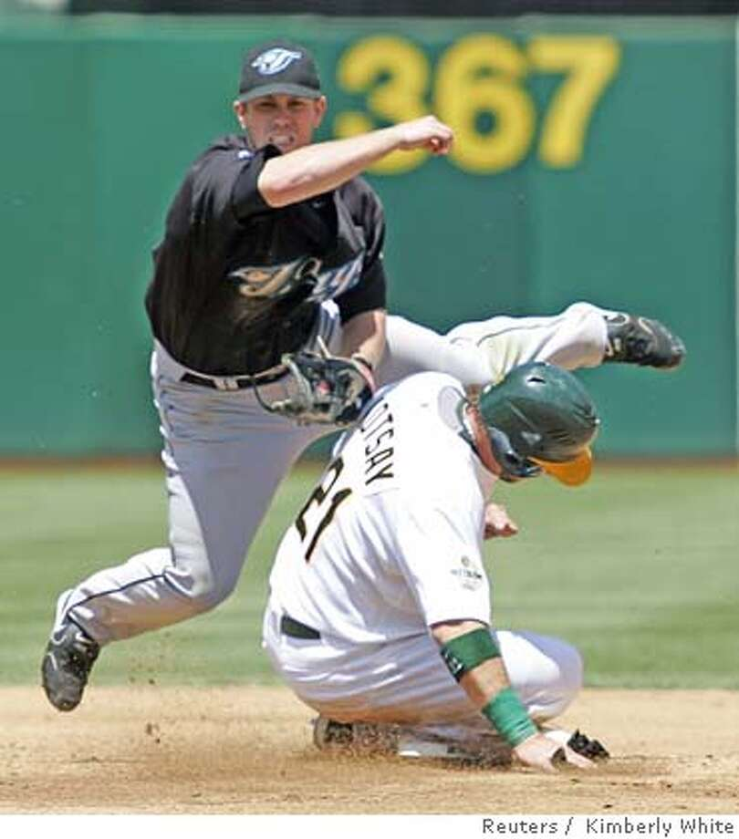 Athletics Kotsay tries to break up a double play by Blue Jays Hill in Oakland Photo: KIMBERLY WHITE