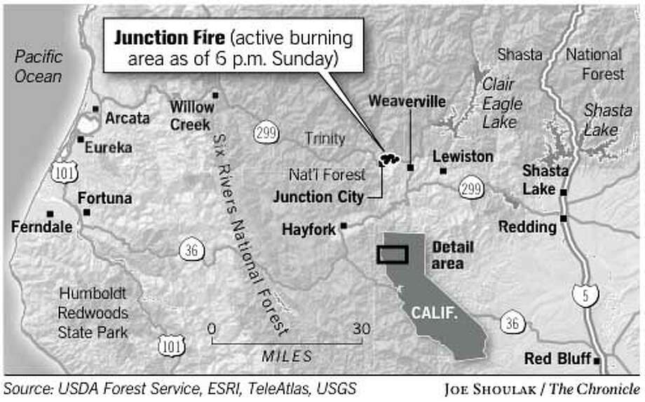 Junction Fire. Chronicle graphic by Joe Shoulak