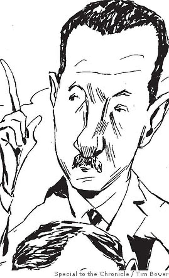 Assad is watching the clock. Illustration by Tim Bower, special to the Chronicle