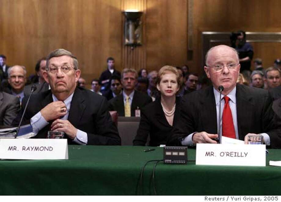 Exxon Mobil Corporation chairman and CEO Lee Raymond (L) and Chevron Corporation chairman and CEO David O'Reilly testify before a joint Senate Energy and Commerce Committee on Capitol Hill in Washington November 9, 2005. REUTERS/Yuri Gripas Ran on: 11-13-2005  Lee Raymond (left), Exxon Mobil Corp. CEO, and Chevron Corp. CEO David O'Reilly testify before a Senate committee.Ran on: 04-15-2006  Former Exxon Mobil CEO Lee Raymond retired in December.Ran on: 04-15-2006  Former Exxon CEO Lee RaymondRan on: 04-15-2006  Former Exxon CEO Lee RaymondRan on: 04-27-2006  Hurricane Katrina's storm surge flooded Chevron's Pascagoula Refinery. The company is still repairing its facilities.  Ran on: 07-30-2006  Last year, Lee Raymond of Exxon Mobil and David O'Reilly of Chevron were paid nearly $70 million and $37 million, respectively. Photo: YURI GRIPAS