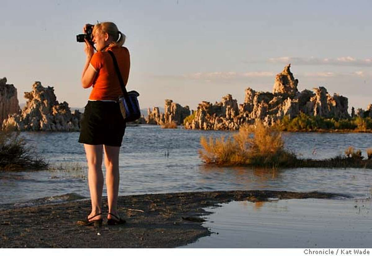 MONOLAKE_081_KW_.jpg Lisbeth Schioenning, from Thousand Oaks in So. California, drove 5 and 1/2 hours just to shoot the sunset over the Tufa formations in Mono Lake, Ca. Saturday July 16, 2006. 30-years-after a group of 12 scientists worked to save Mono Lake and it's delicate ecosystem we look at the status of the lake today. Kat Wade/The Chronicle **Lisbeth Schioenning (Subject) cq Mandatory Credit for San Francisco Chronicle and photographer, Kat Wade, Mags out