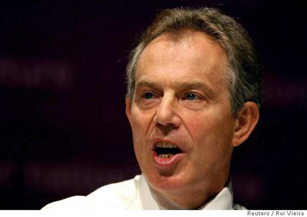 Britain's Prime Minister Blair makes a speech on health at Albert Hall in Nottingham Photo: POOL